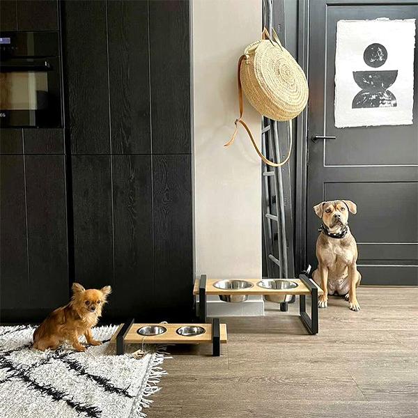 voerbak Oak xs en large honden en kattenzooi