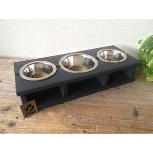 Voerbak wood 3.0 hout antraciet honden en kattenzooi