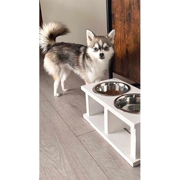 houten handmade voerbak wood white honden en kattenzooi