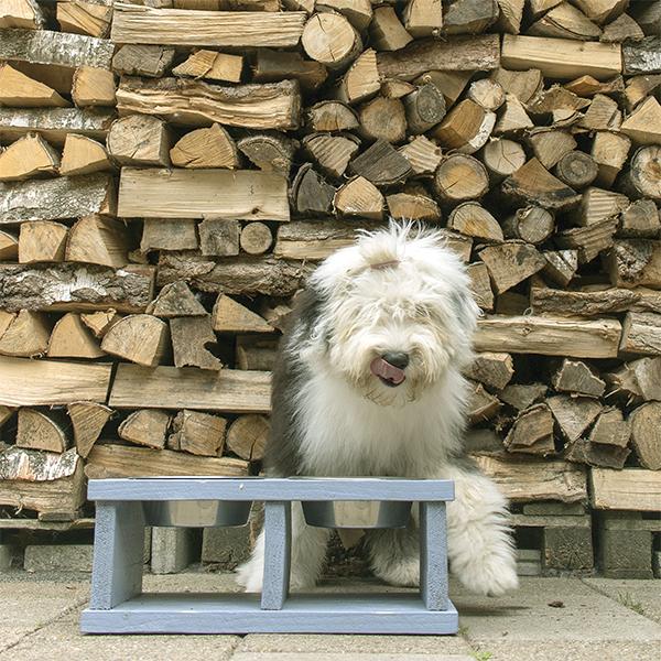 houten hondenvoerbak wood large grijs honden en kattenzooi