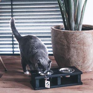 kattenvoerbak wood black van honden en kattenzooi