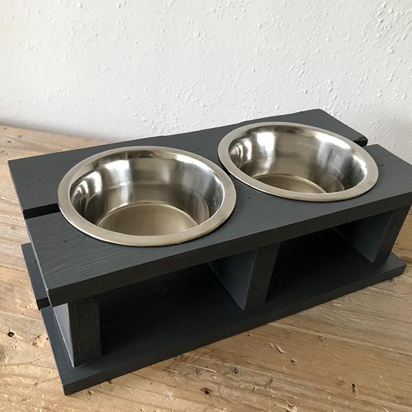 stoere voerbak Wood dark grey honden en kattenzooi