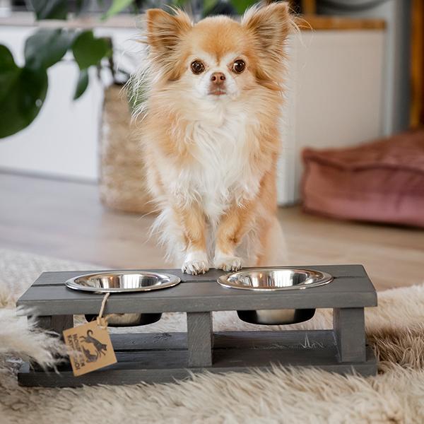 voerbak wood dark grey honden en kattenzooi