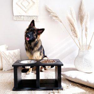 zwarte voerbak wood xl honden en kattnzooi